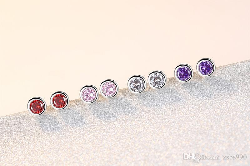 Monili dorati poco costosi all'ingrosso 5MM rotondo degli orecchini del perno di zircon degli orecchini del partito di modo dei monili di Natale le donne Trasporto libero superiore di qualità
