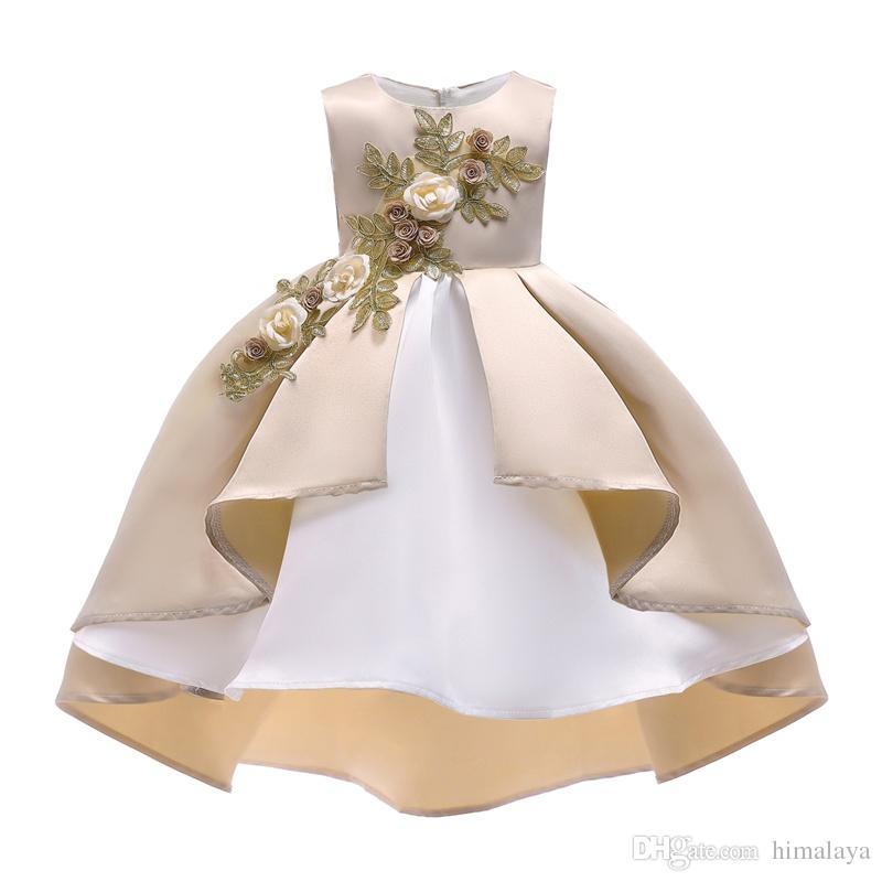 a9f7ec35d4abf Acheter 2018 Enfants Broderie D or Princesse Robes Enfants Parti Vêtements Bébé  Filles Robe Élégante En Bas Âge Fleur De Mariage Robe Pour 100 150 Cm De ...