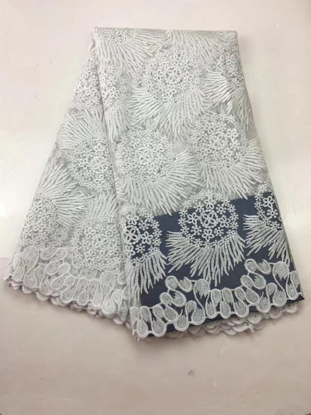 New Hot Embroidery Sewing Lace Fabric Women Dresses Summer Fashion Tulle Lace Dress Clothes Designs African Clothing 5 Yards/piece