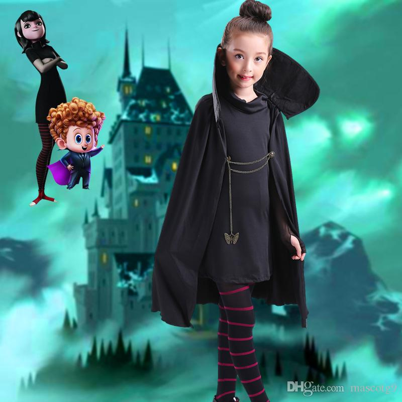 Cartoon Hotel Transylvania Mavis Cosplay Costume Fancy Girls Black Cape  Coat With T Shirt Pants Halloween Carnival Costume Cheap Halloween Costumes  Baby ... fb474711005b