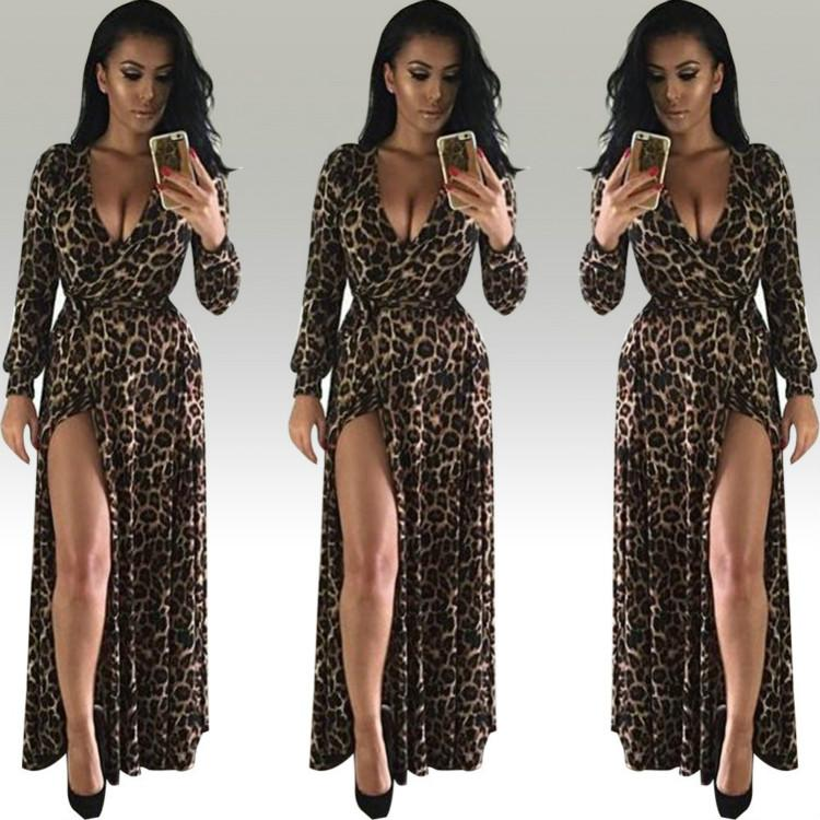 Women Sexy V-Neck Long Sleeve Dress Nightclub Leopard Dresses with Deep V Neck High Split girls dress