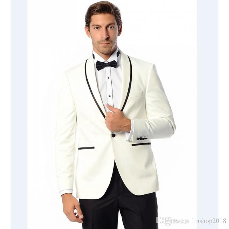 Custom Made Groomsmenn Shawl Lapel Groom Tuxedos One Button Ivory Mens Suits Wedding Suits For Men Best Man Jacket+Pants