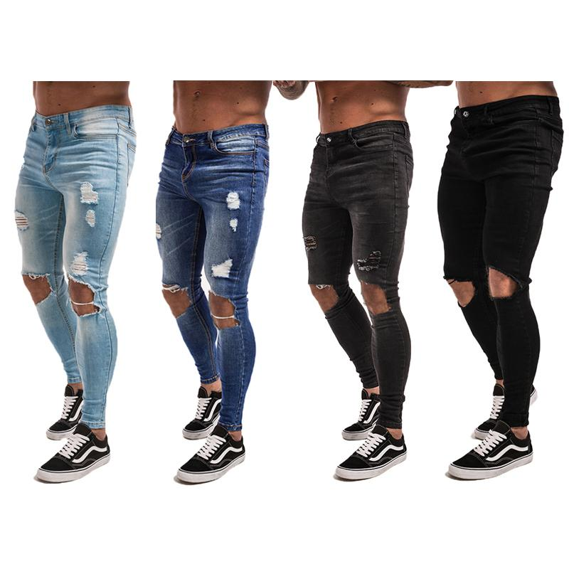 7cd406cfc31d Großhandel Gingtto Herren Skinny Jeans Super Spray Auf Leichte Baumwolle  Ankle Tight Fit Gerippt Reparierte Schwarz Blau Grau Plus Größe 28 34 S1012  Von ...