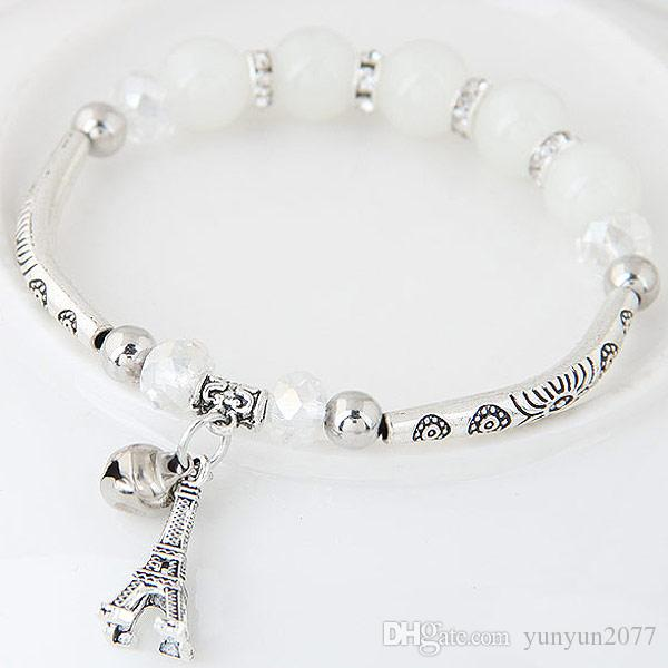 Bohemia Original Jewelry Accessories Vintage Retro Crystal Opal Beads Balls Eiffel Tower Bell Wrist Elastic Chain Charn Wrap Bracelets Women