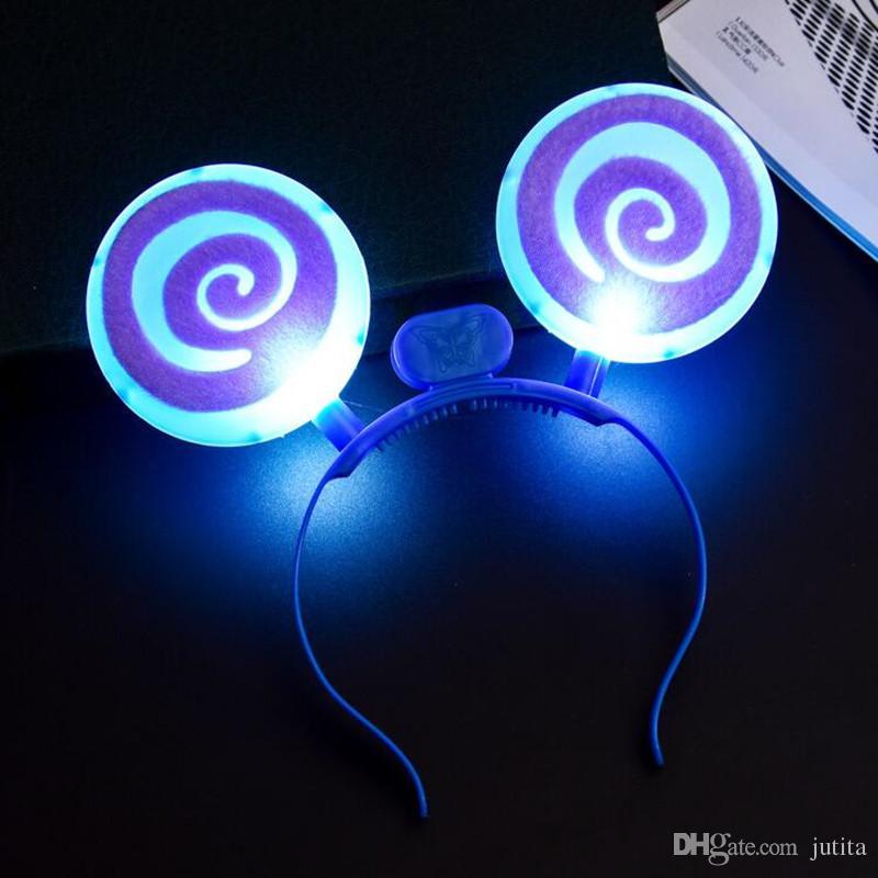 Bonito LED Piscando Lollipop Headband Crianças Adultos Light Up Glowing Hairband Headwear Fontes Do Partido Brilho De Natal