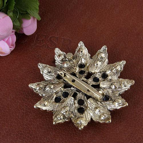 XZ8334 Fashion Jewelry Women Blue/Brown Flower Brooches Pin Alloy Crack Acrylic With Rhinestone brooches/scarf pin