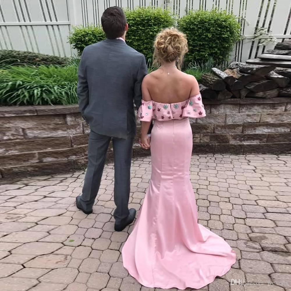 Pink Bateau Neck Dos piezas Vestidos de baile con cuentas Sirena Satin Junior Pageant Vestido Sweep Train Long Homecoming Bata