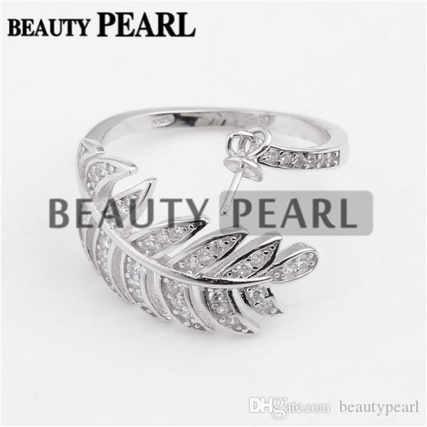 Big Leaves Design Pearl Ring Settings 925 Sterling Silver Cubic Zirconia Ring Semi Mounts