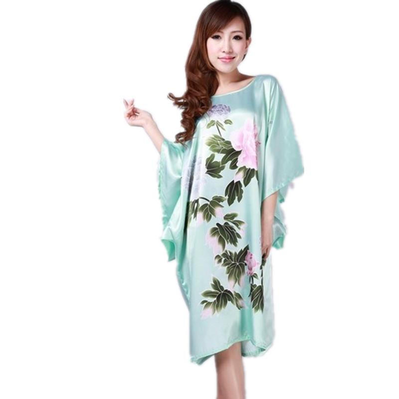 2f124a6772d 2019 Light Blue Ladies Robe Summer Pajamas Chinese Women Rayon Sleepwear  Kimono Bath Gown Nightgown Kaftan Yukata One Size M08 From Tutucloth