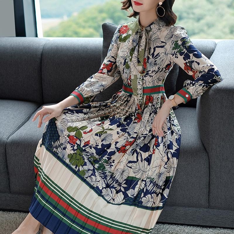 8b9e90efe609 2018 New Spring Autumn Elegant Large Size Women Dress Slim Waist ...
