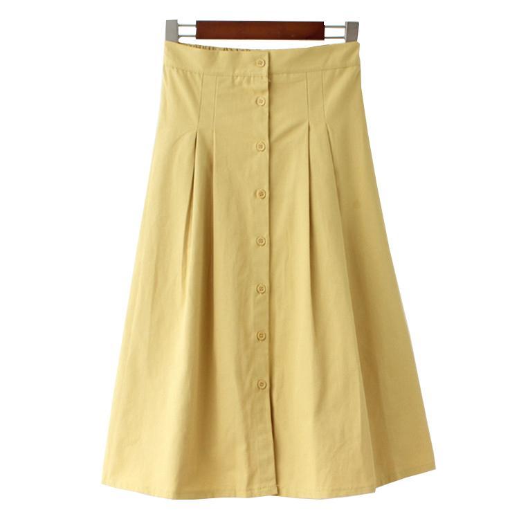 4d77a02cf 2018 Otoño Mujeres Faldas Largas de Algodón de Cintura Alta Una Línea de  Mujeres de Moda Faldas Blancas Jupe Femme Falda Amarilla Saia Faldas