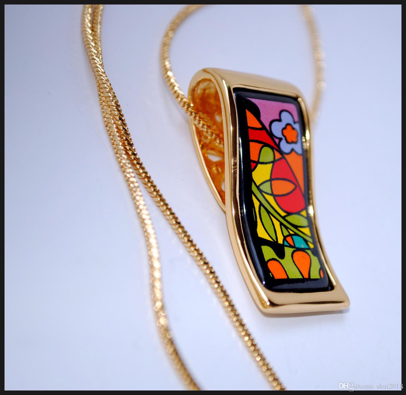 """Classic 18K gold-plated Dream Garde Series Necklacesenamel necklaces for women Top quality """"S"""" shape pendant necklaces necklace for gift"""