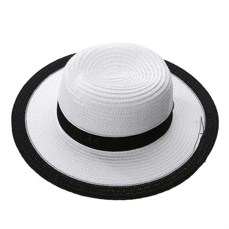 dd44cc183c8 Fashion Women Sun Hat Classic Cap Chic Summer Spring Beach Visor Brief  Solid Straw Hat Brim Headwear Black And White Sun New Baby Sun Hat Summer  Hats For ...