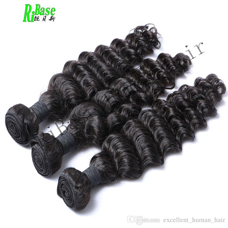 RiBase Onda profonda Tessuto dei capelli umani Bundles Estensione dei capelli Non-Remy Macchina tessere capelli Double Weft Colore naturale /