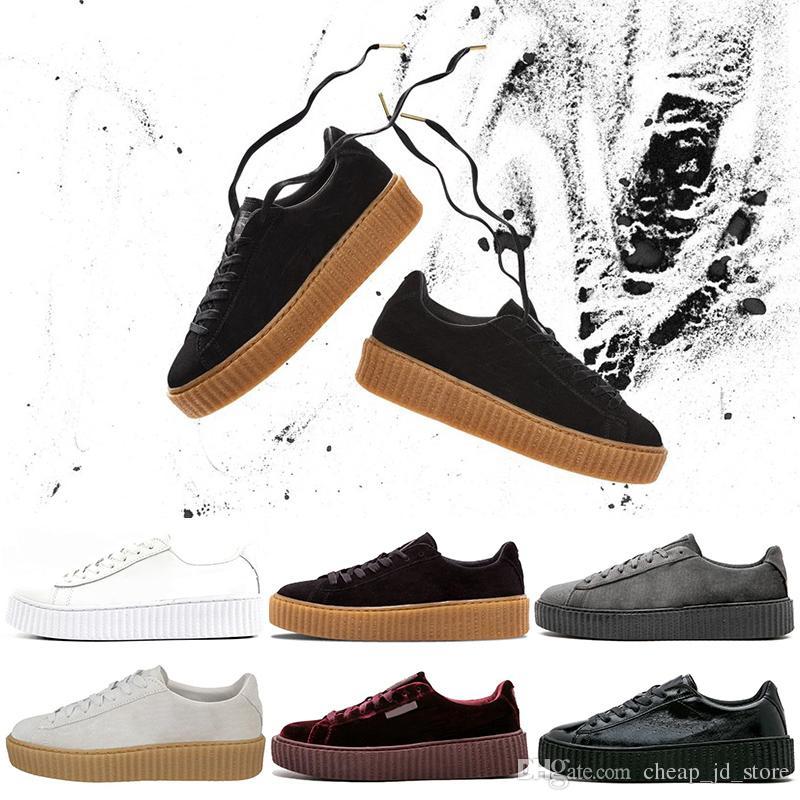 658a8415953 Acheter PUMA Shoes Rihanna Fenty Creeper PM Classique Panier Plateforme  Casual Chaussures Velvet En Cuir Craquelé Daim Hommes Femmes Styliste De  Course ...