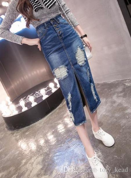 2018 Printemps Eté Automne mode femmes longue jupe en jean casual plus la taille maxi jupes jeans vintage Hem Split jupes crayon