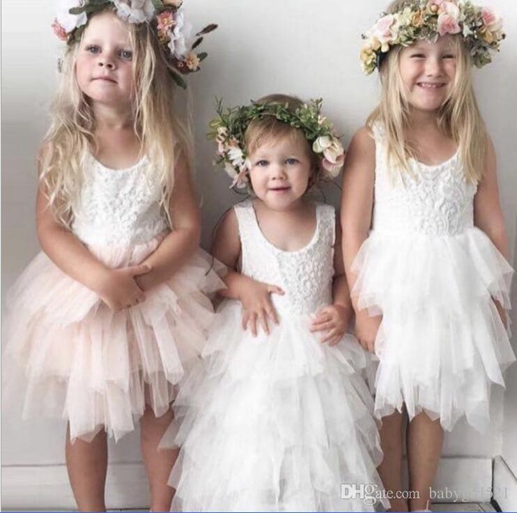 aaa6a07c403 White Cheap High Quality Pink Flower Girl Dresses Tulle Lavender Ball Kids  Baby Girl Gowns Soft Lace Applique Sleeveless Age 1 5Y In Stock Baby Girl  Dresses ...