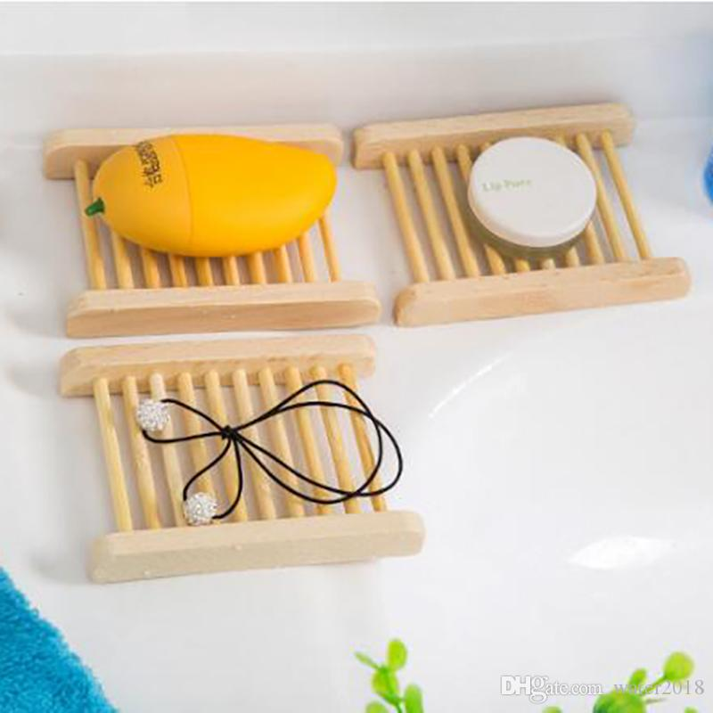Natural Bamboo Wooden Soap Dishes Wooden Soap Tray Holder Storage Soap Rack Plate Box Container for Bath Shower Bathroom 241