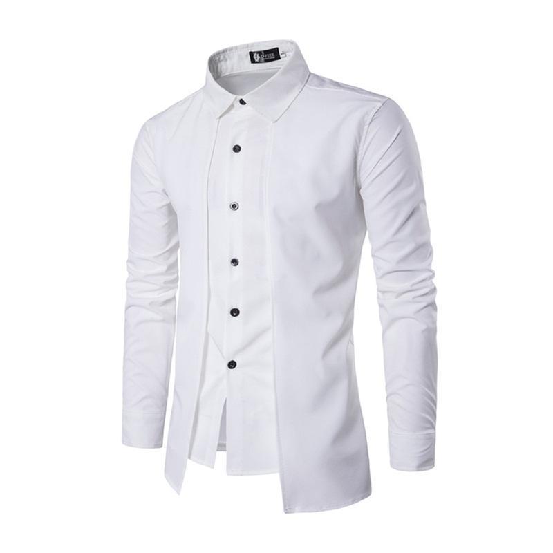 357b93a79880 2019 2017 Casual Men Shirt Hawaiian Mens Long Sleeve Lapel Solid Social Shirts  Dress Slim Fit Double PLACKET Streetwear Fake Camisa From Movearound