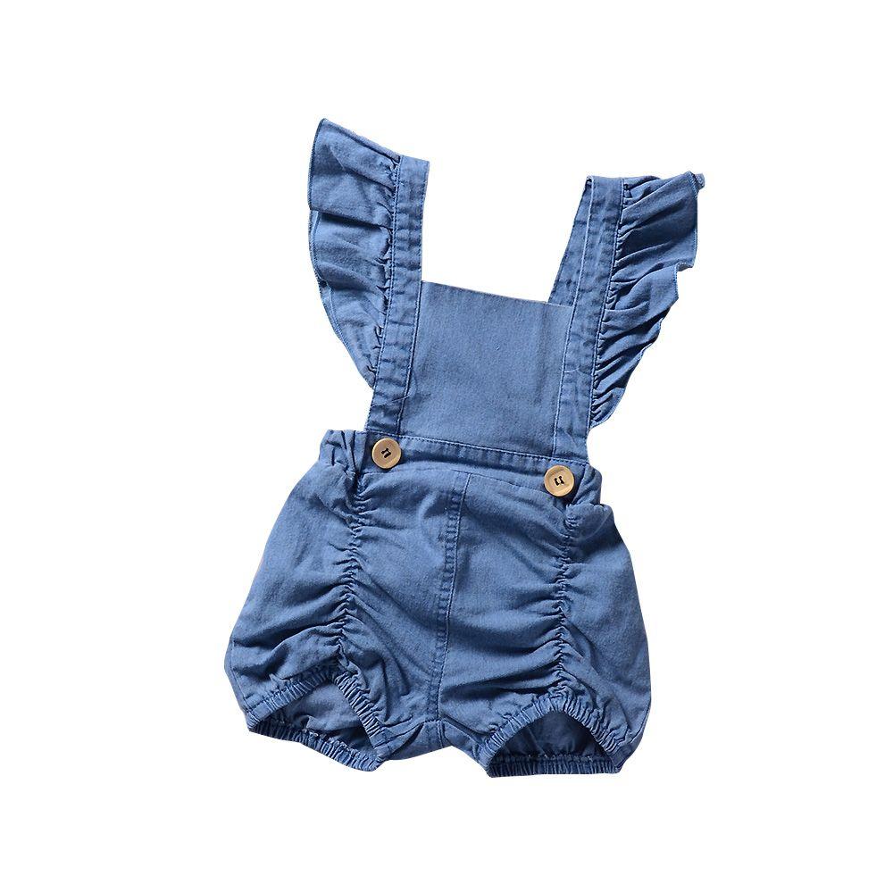 53819867043 High Quality Children s Wear Kids Washed Denim Baby Romper Button ...