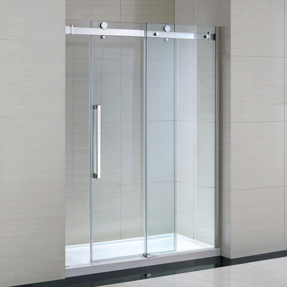 Frameless Shower Doors.2000mm Polish Bypass Stainless Steel Frameless Sliding Glass Shower Door Hardware Kit Bathroom Sliding Door System