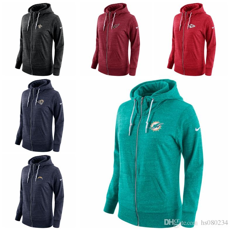 1ef6b40b New Orleans Saints Miami Dolphins Los Angeles Rams Los Angeles Chargers  Kansas City Chiefs Cardinals Women Tailgate Vintage Full-Zip Hoodie
