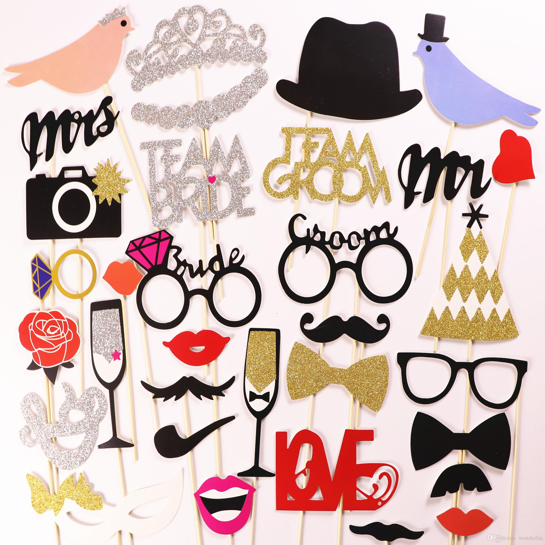 2019 Photo Booth MrMrs Just Married Photobooth Props