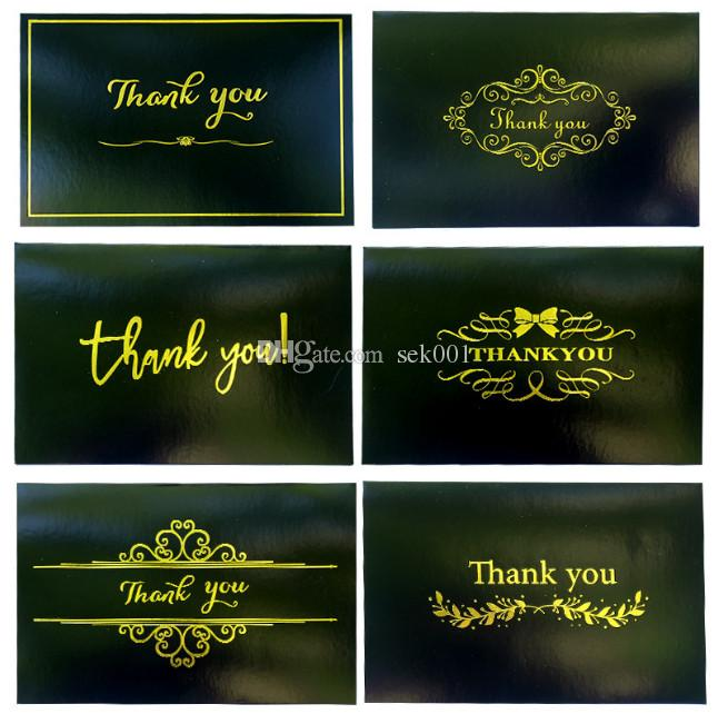 Vintage Black Gold Stamping Thank You Greeting Cards With One
