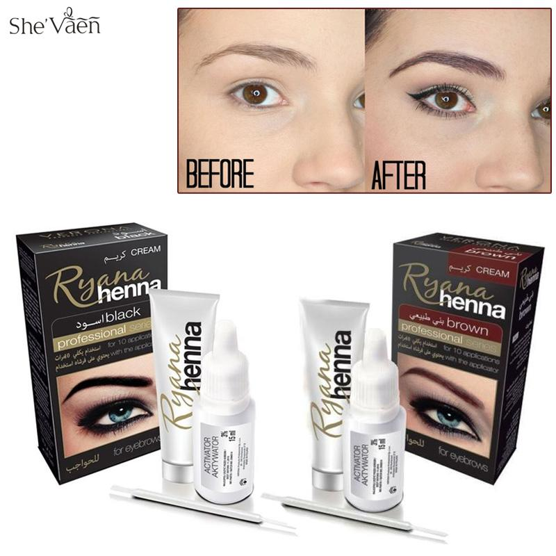 Ryana Henna Natural Eyebrow Tint Kit Brown Black Brows Dyeing
