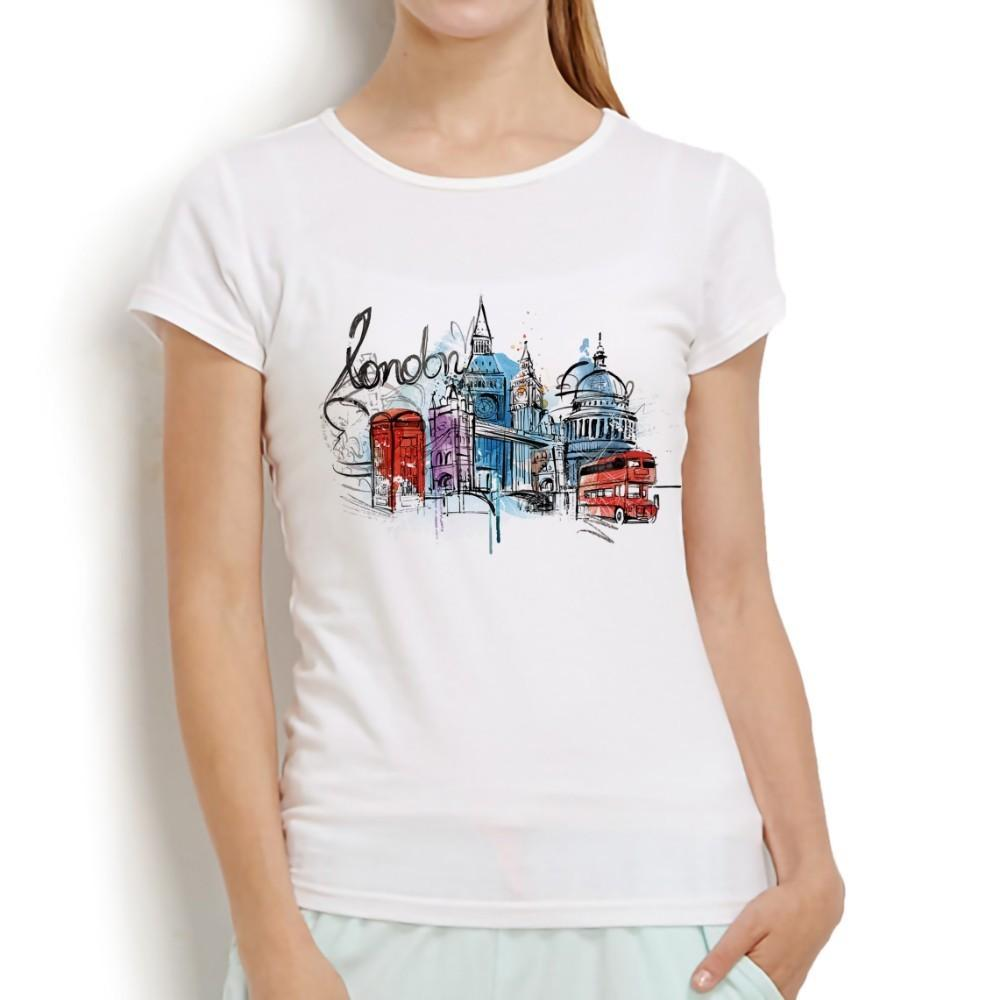 60b889023e283 Cidade de londres a Galeria Nacional aquarela desenho não cola impressão t  shirt femme new white manga curta casual mulheres tshirt