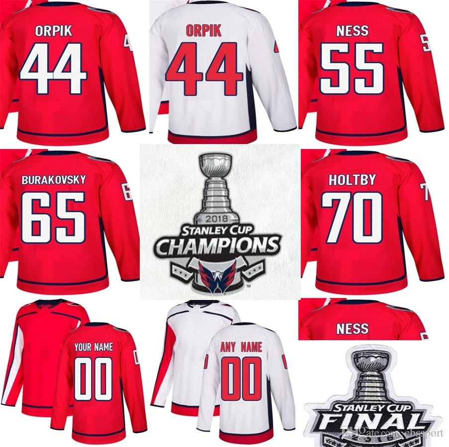 Cheap 2018 Stanley Cup Final Champions Washington Capitals 44 Brooks Orpik  55 Aaron Ness 65 Andre Burakovsky 70 Braden Holtby Hockey Jerseys UK 2019  From ... 7412ee0a5