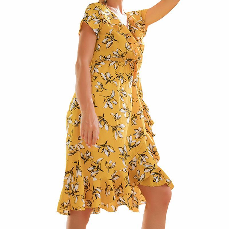 263baad7b8 Compre Vestidos Estampados De Flores Femeninos 2019 Boho Summer Midi  Sundress V Cuello De La Colmena Del Dobladillo Del Vestido Estampado Tallas  Grandes ...
