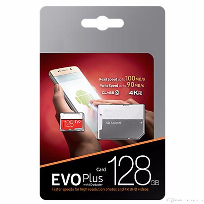 Schwarz EVO Plus + C10 64 GB 128 GB 256 GB Speicherkarte TF Speicherkarte mit freiem Einzelhandel Blister-Paket für Kamera-PC-Telefon