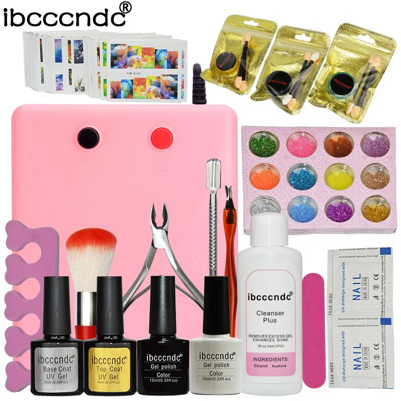 Manicure Nail Art Set Kit 36w Uv Lamp 10ml Black White Gel Polish