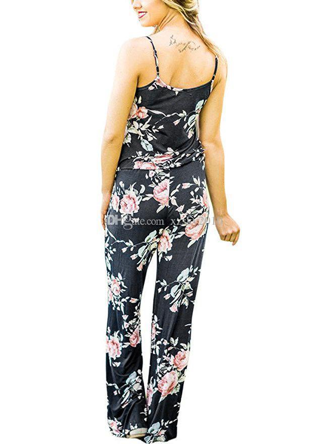 Les femmes l'impression de ceinture Bracelet Floral Romper Jumpsuit manches tempérament Combishort de plage Boho été Tenues Pantalons longs