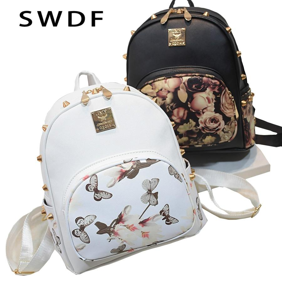 2f9e13971b75 SWDF Fresh Style Women Backpacks Floral Print Bookbags PU Rivet Backpack  School Bag For Girls Rucksack Female Travel Backpack Leather Backpacks One  Strap ...