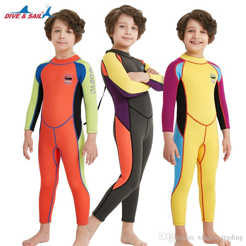 4936a38cb0 Kids Diving Suit 2.5MM Neoprene Wetsuit Children For Boys Girls Keep Warm One  Piece Long Sleeves UV Protection Swimwear UK 2019 From Xiadou trading