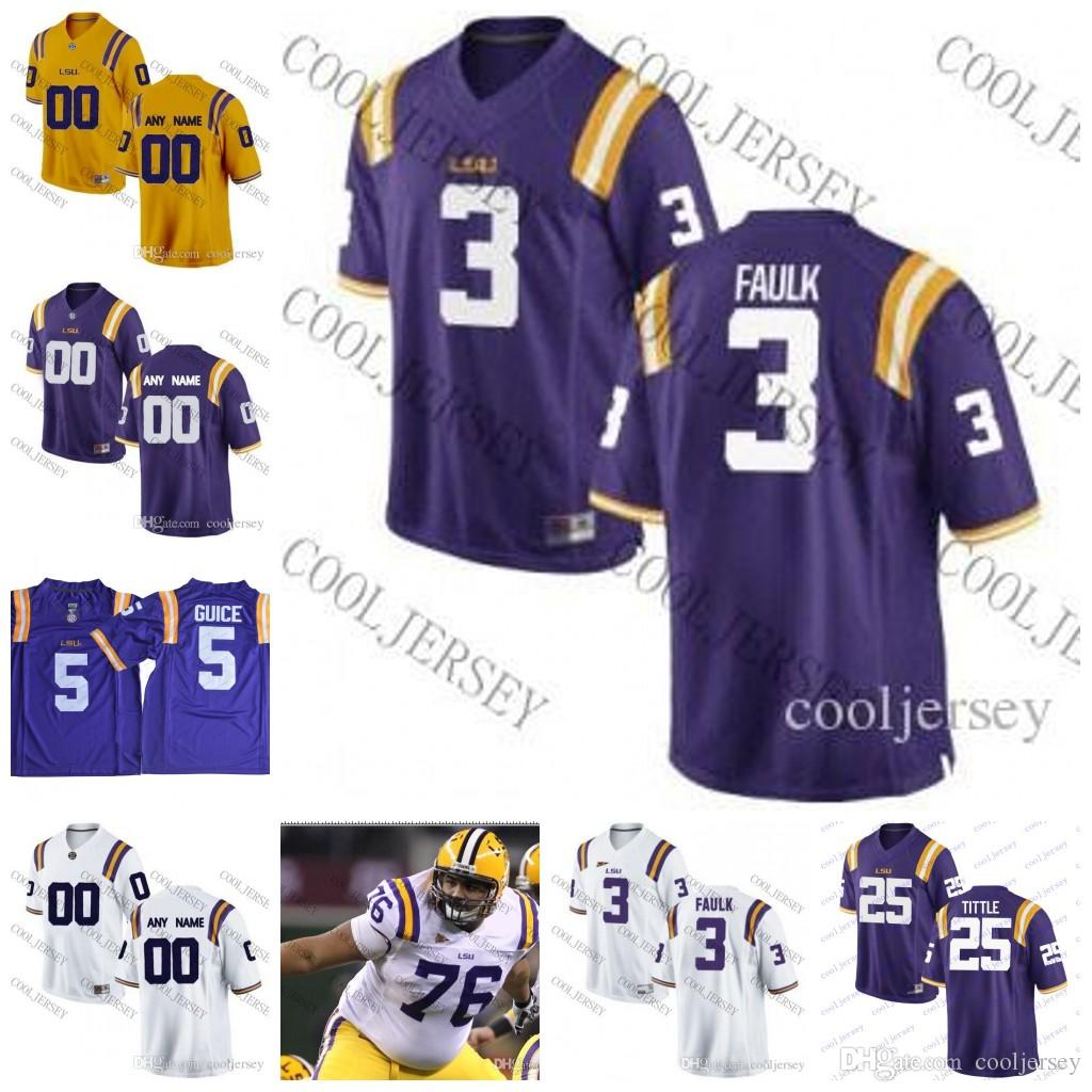 brand new 9dfb1 74a4a NCAA LSU Tigers College Football #3 Kevin Faulk 76 Andrew Whitworth 80  Dwayne Bowe 2 JaMarcus Russell Limited Jersey White Purple Yellow