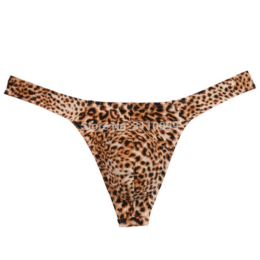 Yeni Koleksiyon Moda Leopar Bikini Seksi erkek Thongs Ve G-Dizeleri Çıkıntılı Kılıfı Erkek Tanga Iç Çamaşırı Erkek Külot Tanga