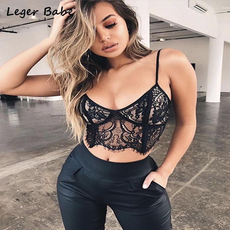 2019 Leger Babe 2018 Black Sexy Women Strappy Lace Crop Top Bandage Spaghetti Strap V Neck Floral Bralet Bra Bustier Fashion Crop Top From Piaocloth