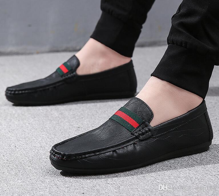 1499f3ea552553 2018 Sommer PU Leder Schuhe Männer Casual Mokassins Herren Slip-On Loafers  Atmungsaktive Fahren Schuhe Herren formale Schuhe