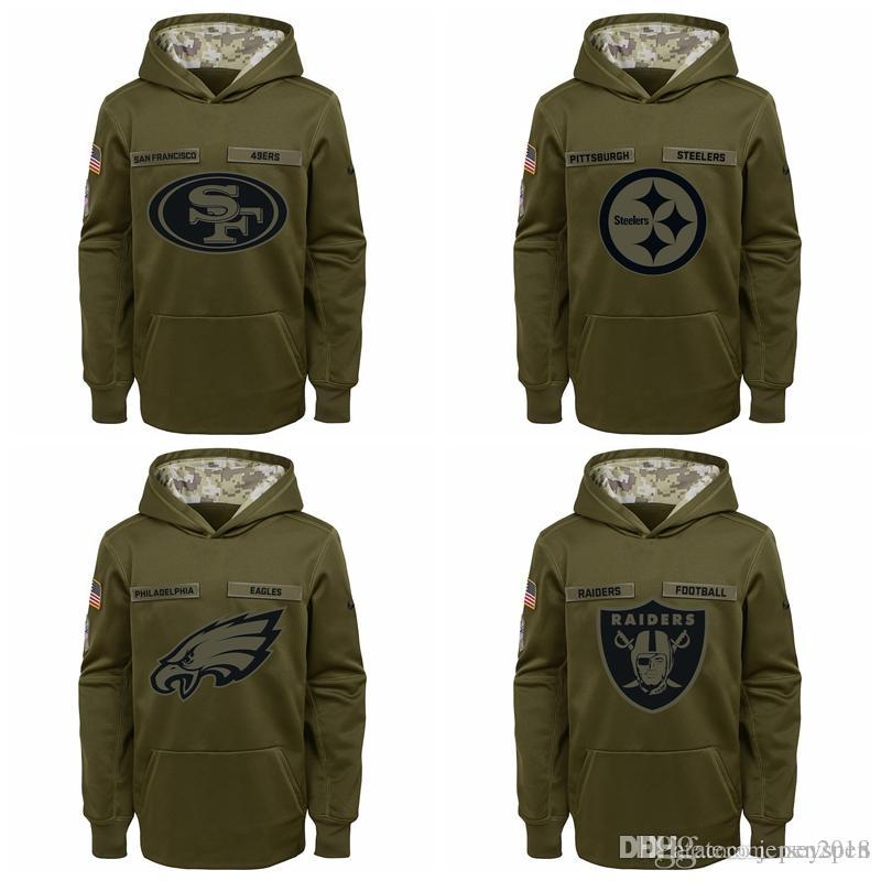8e03263d Kid Seattle Seahawks San Francisco 49ers Pittsburgh Steelers Philadelphia  Eagles Youth Salute to Service Pullover Performance Hoodie - Gree