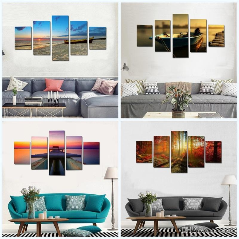 Modern Large Scenery Spray Paintings Combination Home Decor Living Room Canvas Forest Painting Wall Art Hanging Picture No Frame 33 5md2 jj
