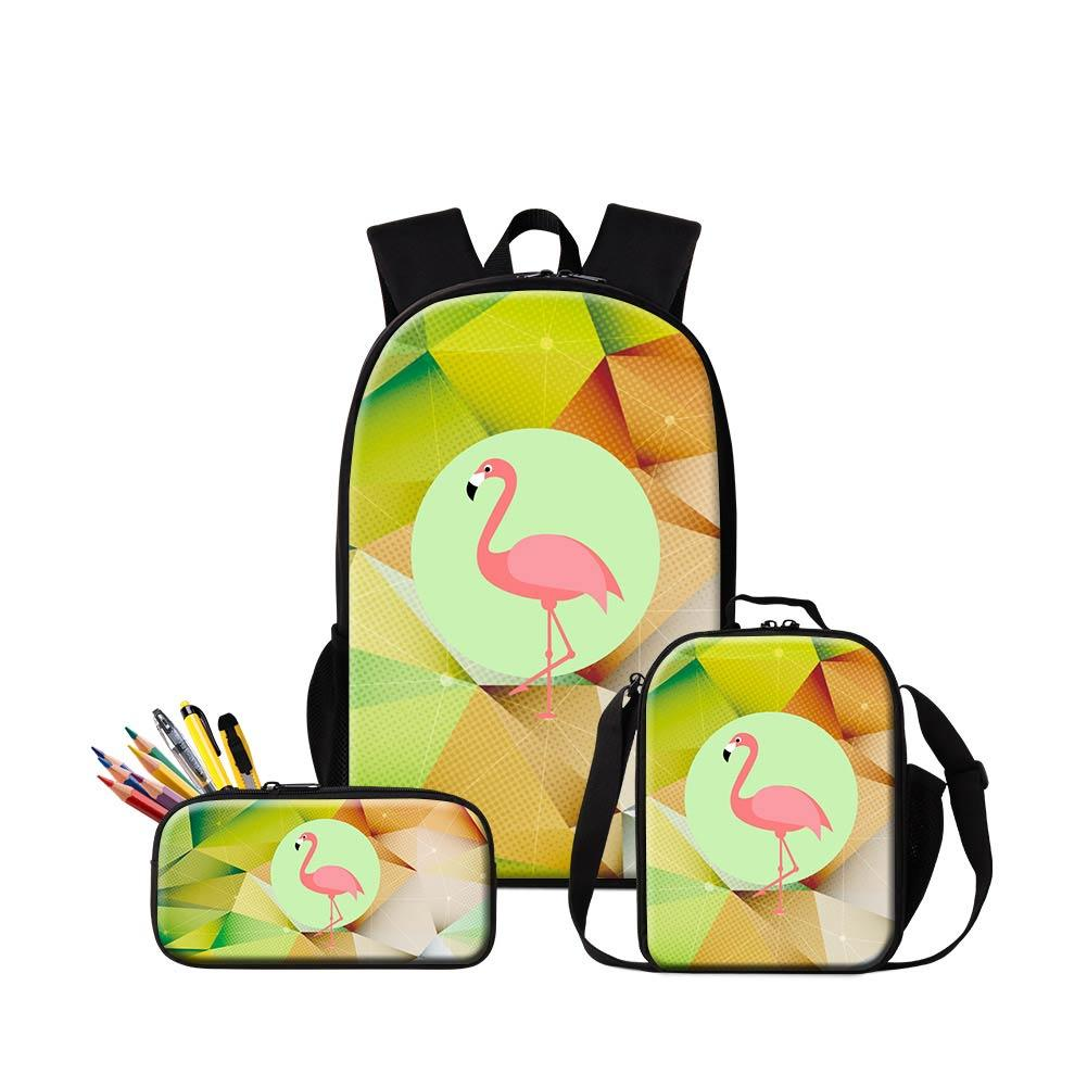 Custom Design Flamingo Backpacks Pencil Bag Lunch Bags Set For Students  Animal 3D Printing Schoolbag Bookbag For Boys Girls Sac A Dos Side Bags Kids  ... ec22bafeb85d7