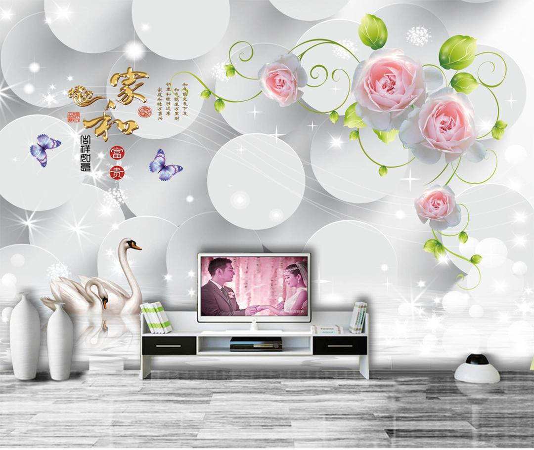 Custom Retail Fashion Modern Minimalist Home And Romantic Rose 3D TV Background Wall Dreamy White Round Star Pink Rose Mural