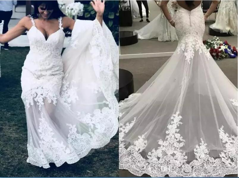 ad5163f2e9e3 Lace Spaghetti Straps Beach Wedding Dresses 2019 Summer See Through Mermaid Bridal  Gowns Sexy Backless Plus Size Wedding Dresses Black And White Wedding ...