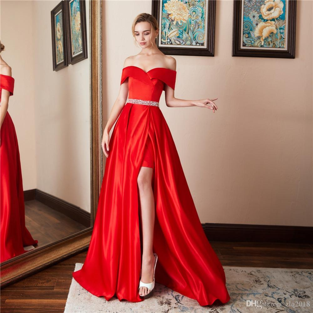 061e1e101a0 Off Shoulder Red Prom Dresses 2019 Sexy Backless Split Long Floor Length Formal  Evening Party Gowns Shining Crystal Special Occasion Dress Lace Evening ...