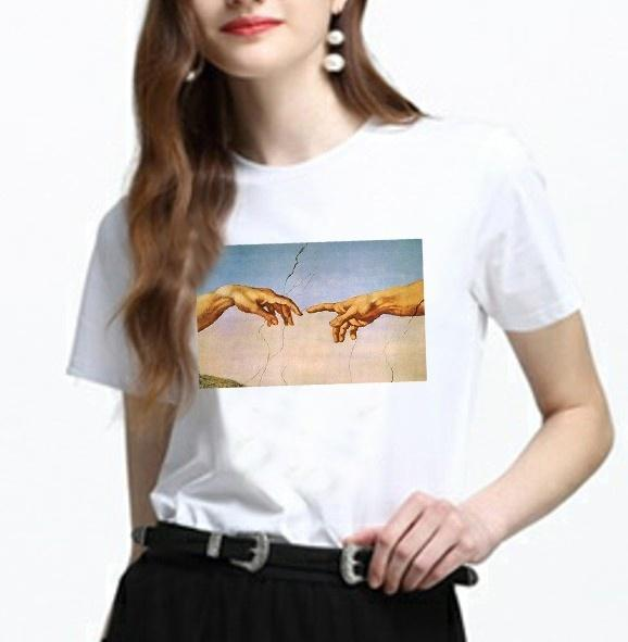 a52cc697 Women's Tee Hahayule Summer Fashion Michelangelo Hands Printed T-shirt  Women Tumblr Grunge Graphic Tee Casual Oversize Black Tops