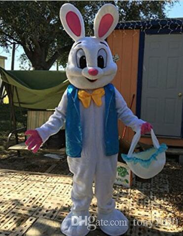Adult New Easter Bunny Mascot Costume Rabbit Cartoon Fancy Free Shipping