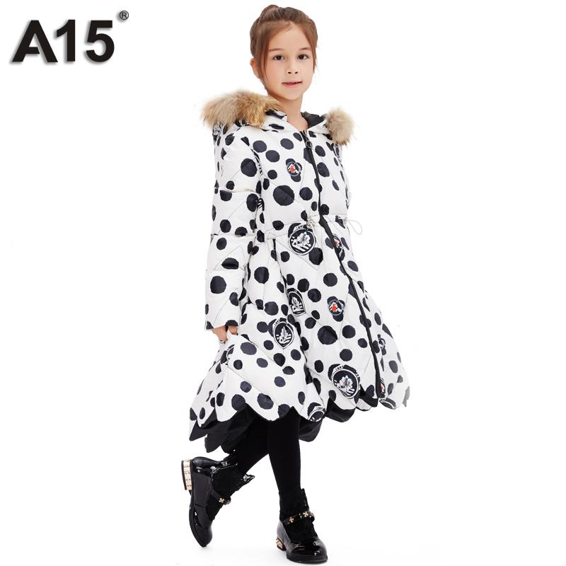 A15 Children Winter Jackets for Girls Kids Outerwear Coats Girls Warm Long Parka Down Coats Teens Thick Faux Fur Hooded Overcoat